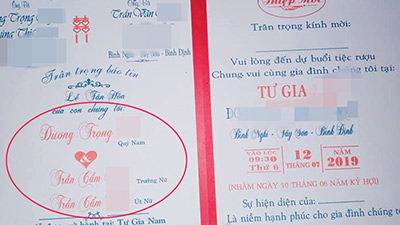 Xôn xao hình ảnh tấm thiệp cưới ghi tên 1 chú rể nhưng có tới 2 cô dâu là chị em ruột ở Bình Định?