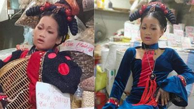 Chị gái bán đồ khô ăn mặc như quý phi, trang điểm sương sương khiến dân mạng ngỡ đâu Halloween đã tới