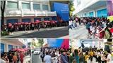 Giữa trưa nắng gắt, giới trẻ Sài Gòn xếp hàng đông nghẹt chờ mua hàng hiệu tại cửa hàng mới khai trương