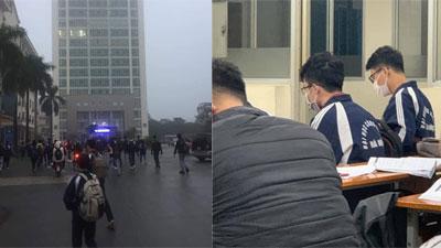 Sáng 3/2, sinh viên trường ĐH Công nghiệp Hà Nội dậy sớm đến trường như mọi ngày