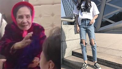 Thấy cháu gái mặc quần jeans rách, bà thương liền cho bộ đồ mới rồi bắt thay: 'Tao mua chưa mặc đâu'