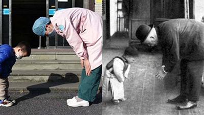 Bé trai 3 tuổi cúi người cảm ơn y tá đã chăm sóc mình khiến dân mạng liên tưởng đến bức ảnh tương tự hơn 100 năm trước