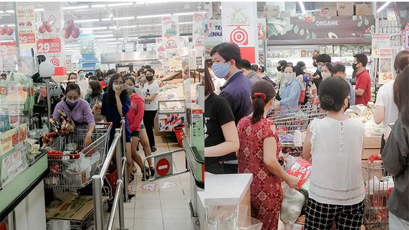 Trước ngày cách ly toàn xã hội: Người dân Sài Gòn nườm nượp đi siêu thị mua sắm, chờ cả tiếng mới được tính tiền