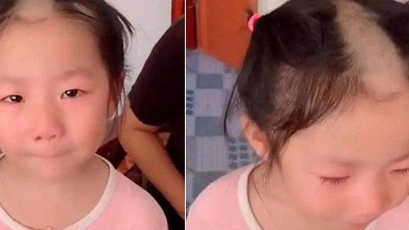 Bé gái 5 tuổi cầm tông đơ cắt tóc chơi, mẹ quay đi 1 lúc, quay lại thì 'đứng hình' khi thấy con