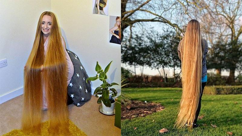 Mái tóc dài 1m52 suốt 5 năm không cắt của nàng Rapunzel ngoài đời thực