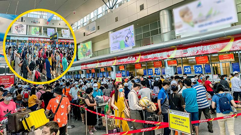 Sân bay Đà Nẵng sau khi lệnh giãn cách toàn xã hội: Đông không chỗ chen, nhiều đoàn nối nhau làm thủ tục