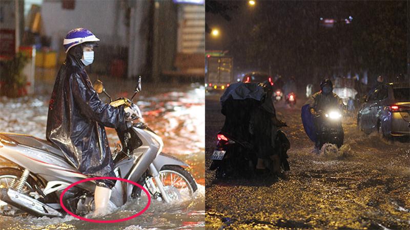 TP.HCM: Mưa to giờ tan tầm, hàng loạt phương tiện chết máy dẫn bộ, dự báo còn mưa nhiều ngày tới