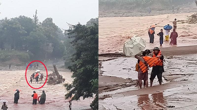 Chung tay đưa sản phụ chuyển dạ qua chiếc cầu ngập lũ ở Quảng Trị