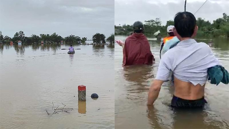 Chùm ảnh: Nhiều nơi ở Quảng Trị ngập sâu sau đêm mưa lớn, giao thông tê liệt