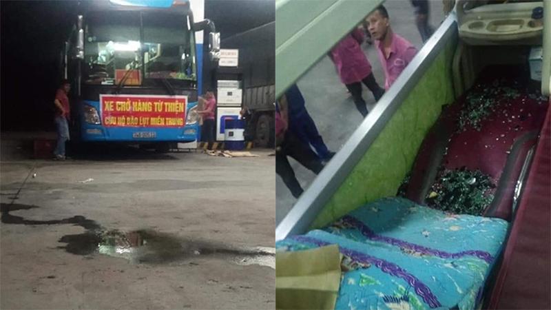 Xe chở hàng hóa cứu trợ người dân vùng lũ từ Sài Gòn ra Quảng Trị bị ném đá vỡ kính ở Phú Yên