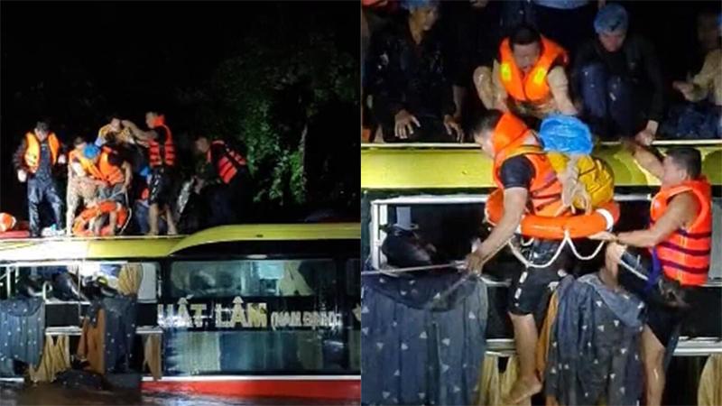 Nghẹt thở giải cứu thành công xe khách bị lũ xiết cuốn trôi vào rừng trong đêm