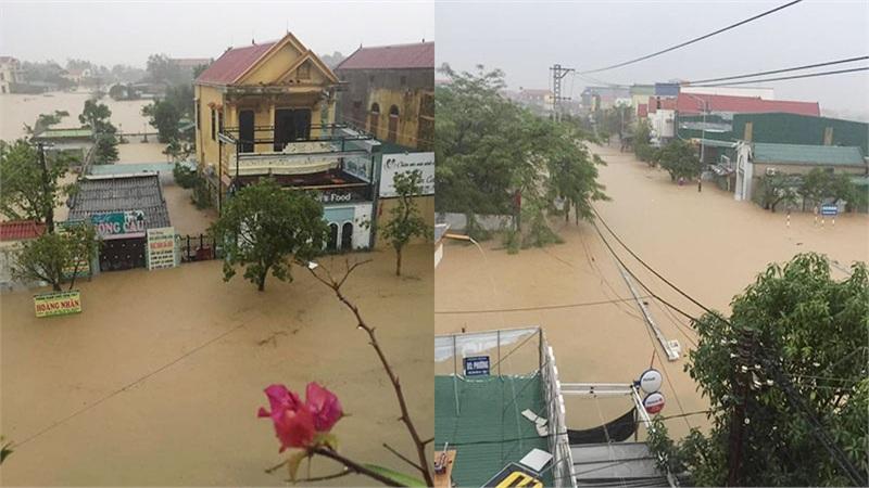 Quảng Bình chìm trong biển nước sau đêm mưa lớn, nhiều nơi bị cô lập