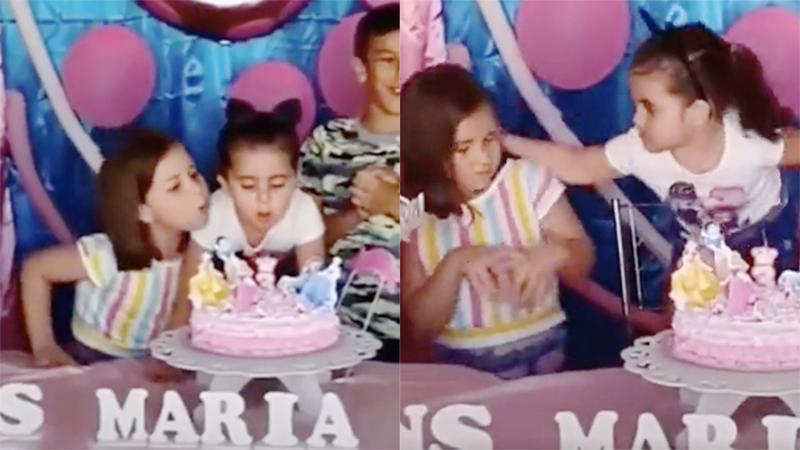 Clip 2 bé gái chí chóe tranh nhau thổi nến sinh nhật, đặc biệt hơn là loạt ảnh hậu trường 'tình chị em trước khi sứt mẻ'