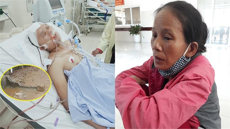 Lái xe trên đường trơn trượt sau lũ, một thanh niên vấp ngã chấn thương sọ não: Mẹ già như người mất hồn ngồi chăm con