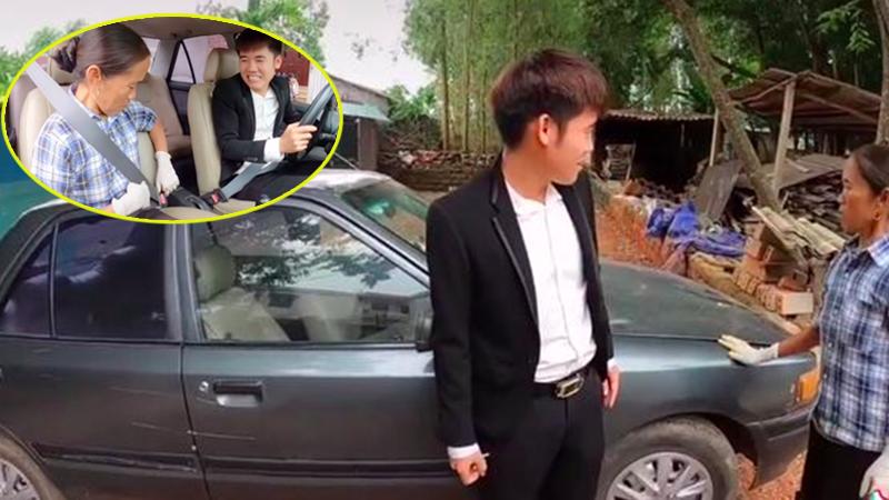 Bà Tân Vlog 'choáng' khi con trai mua xe 4 tỷ, biểu cảm bối rối không biết tháo dây an toàn của bà khiến cộng đồng mạng thích thú