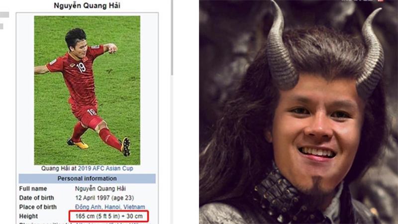 Huỳnh Anh vừa vướng scandal bị tố là 'tuesday', Quang Hải bất ngờ cao thêm 30cm trên trang Wikipedia