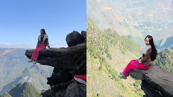 Rùng mình cô gái ngồi vắt vẻo tạo dáng trên mỏm đá cô đơn đỉnh Mã Pí Lèng, bên dưới là vực sâu hàng trăm mét