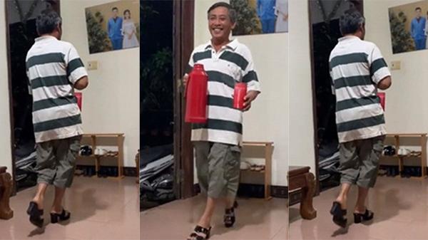 Clip ông bố tóc hoa râm đi catwalk điêu luyện trên đôi guốc vợ mới mua thu hút 1,8 triệu lượt xem
