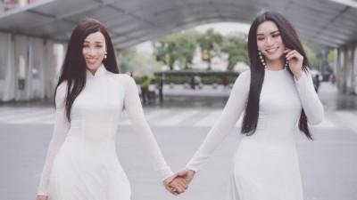 Diện áo dài trên đất Thái, BB Trần - Hải Triều được khen xinh như hoa hậu