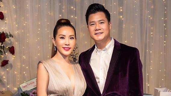 Hoa hậu Thu Hoài diện đầm đắt đỏ, gợi cảm đến chúc mừng sinh nhật ca sĩ Quang Dũng