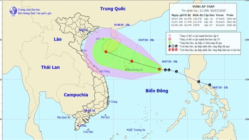 Vùng áp thấp có khả năng mạnh lên thành áp thấp nhiệt đới, nhiều vùng biển nguy hiểm
