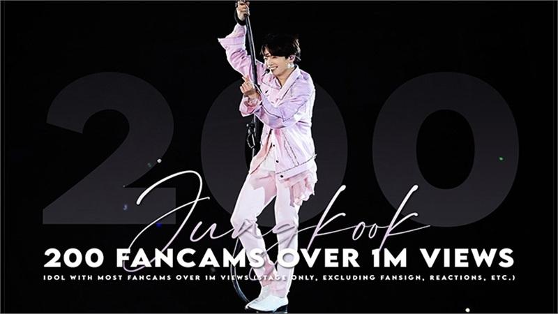 Jungkook là idol đầu tiên và duy nhất có 200 fancam vượt mốc 1 triệu view, chứng tỏ khả năng biểu diễn 'thần sầu'