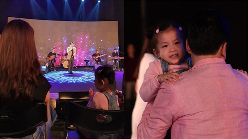 Con gái cưng liên tục vỗ tay theo nhạc khi xem Lam Trường biểu diễn trên sân khấu