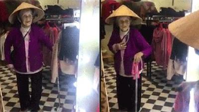Cụ bà ngạc nhiên vì có người giống mình như đúc khi nhìn vào gương