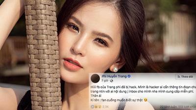 Sau dòng STT lạ, Phi Huyền Trang xác nhận trang Facebook tích xanh đã bị hack