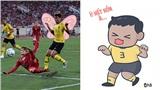 Cười 'bể bụng' trước loạt ảnh chế 'điệu nhảy xòe cánh' của cầu thủ Malaysia khi chạm trán với Quang Hải