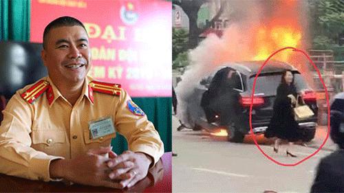 Giây phút CSGT lao vào cứu tài xế Grab đang bốc cháy bị mắc kẹt trước mũi xe Mercedes