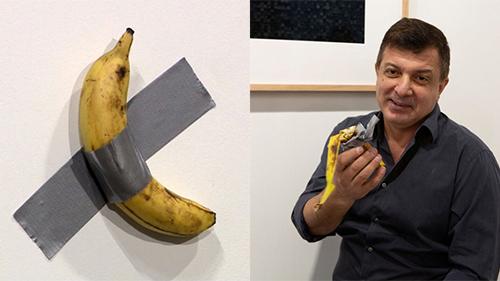 Quả chuối dán tường giá gần 3 tỷ đồng trưng bày tại triển lãm vừa bị một người đàn ông 'xơi' ngon lành vì...quá đói