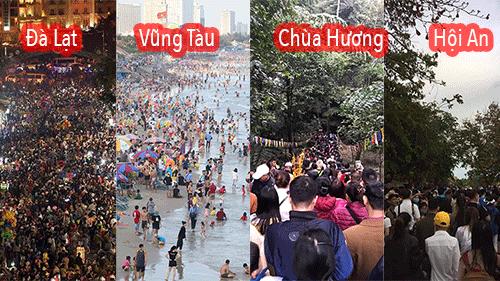 Dân mạng choáng váng với hình ảnh biển người đông nghịt ở khắp nơi dịp Tết: Hạ Long, Vũng Tàu... đâu cũng 'vỡ trận'