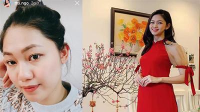 Chẳng còn ngại ngần, Á hậu Thanh Tú khoe gương mặt bị 'phá nét' của người mang bầu sau hai tháng rưỡi lên xe hoa với chồng đại gia