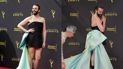 Nam diễn viên Jonathan Van Ness gây sốc khi mặc váy cúp ngực bó sát trên thảm đỏ
