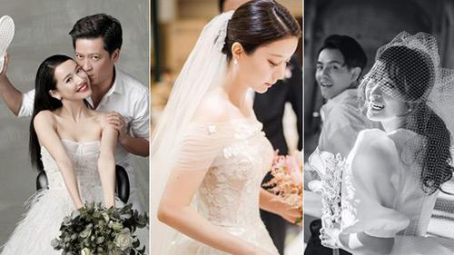 Nhìn Đông Nhi và Đàm Thu Trang mới thấy: Tóc búi xịt keo cầu kỳ đã 'về vườn', cô dâu ngày nay giờ càng đơn giản càng đẹp