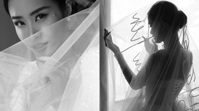 Hé lộ chi tiết thêu đáng chú ý của chiếc khăn voan cài tóc dài 5 mét Đông Nhi diện trong ngày cưới