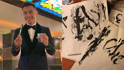 Siêu mẫu Mạnh Khang vượt khó, viết thư pháp bằng bàn chải đánh răng ở Mister Supranational