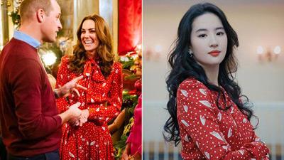 Cùng 1 mẫu váy: Lưu Diệc Phi đẹp như nữ nhân Hoàng gia, Công nương Kate sửa váy tinh tế để tránh sexy