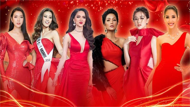Diện váy đỏ rực rỡ: Hoàng Thùy - Khánh Vân đẹp hút hồn, Hương Giang - H'Hen Niê thần thái sang chảnh