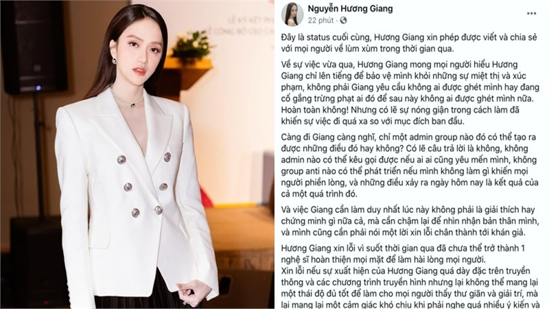 Hương Giang viết tâm thư xin lỗi để chốt lại drama với antifan