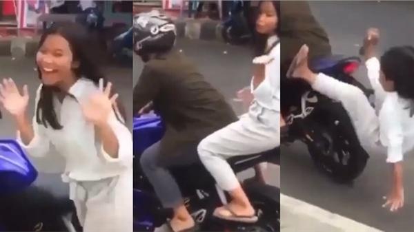 Video: Ngồi ngất ngưởng sau xe phân khối lớn, cô gái nhận kết đắng sau cú tăng ga