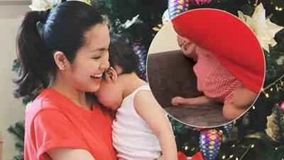 Khoảnh khắc 1 giây lộ gương mặt bầu bĩnh đáng yêu của con gái Tăng Thanh Hà