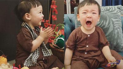 Á hậu Tú Anh khoe khoảnh khắc con trai vừa khóc vừa cười siêu đáng yêu đêm Giao thừa