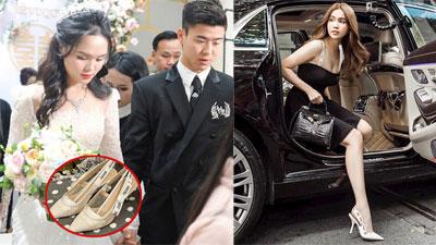 Quỳnh Anh diện đôi giày cưới đụng cả dàn sao Vbiz, trông thế mà cô dâu cũng 'gắt' chẳng kém cạnh chú rể
