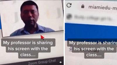 Chia sẻ màn hình máy tính với sinh viên, thầy giáo vô tình lộ sở thích xem phim nhạy cảm