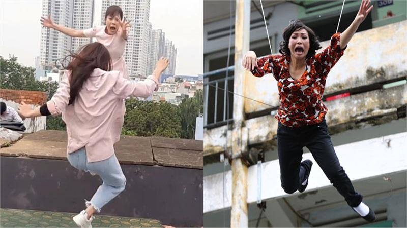 Thót tim với hậu trường cảnh quay 'nhảy lầu' của phim Việt