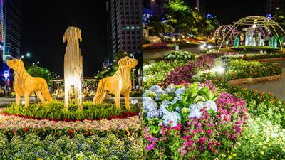 Người Sài Gòn đổ xô đến phố Nguyễn Huệ ngắm hoa, check-in với cún khổng lồ