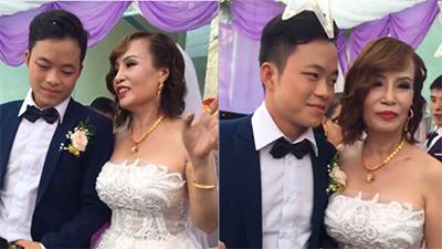 Chú rể 26 tuổi ăn mặc bảnh bao đón cô dâu 61 tuổi về dinh