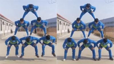 Nhóm nam sinh vừa xây tháp vừa nhảy dây khiến dân mạng 'bái phục'